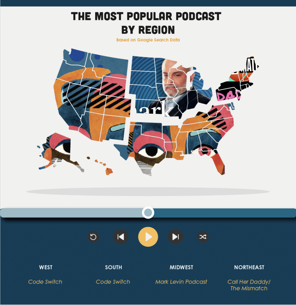 US map identifying the top podcasts by region