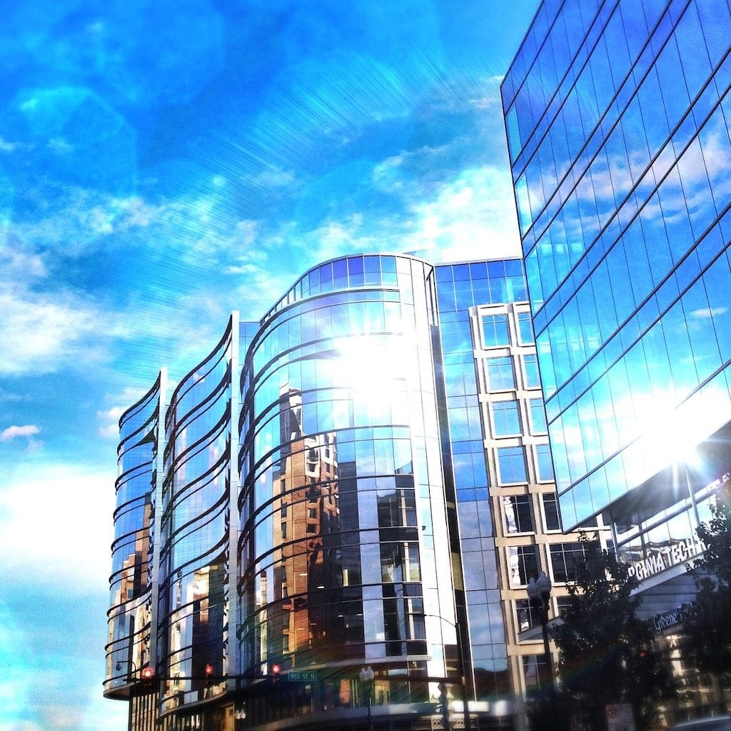 Glass building in Arlington, VA